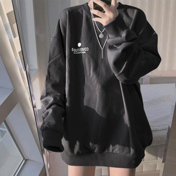 Fashion Hoodies Women Spring Autumn New Korean Loose Pullover Long Sleeve Solid Hoodie Sweatshirts Student Thin Sports Top