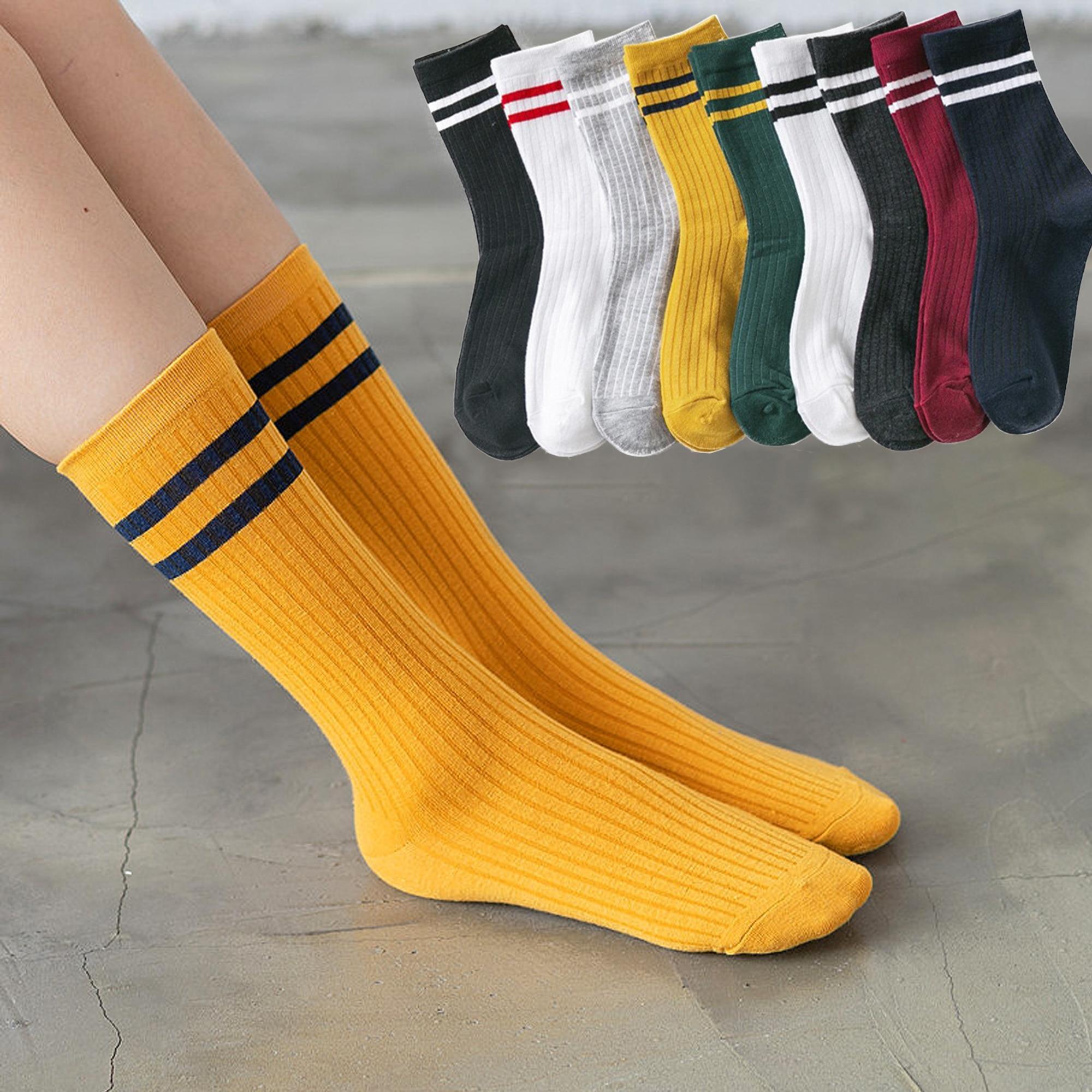 New Japanese Two Bars Cotton Socks Women Black white Yellow green Funny Harajuku Girls Cute Socks High Quality Fashion Socks