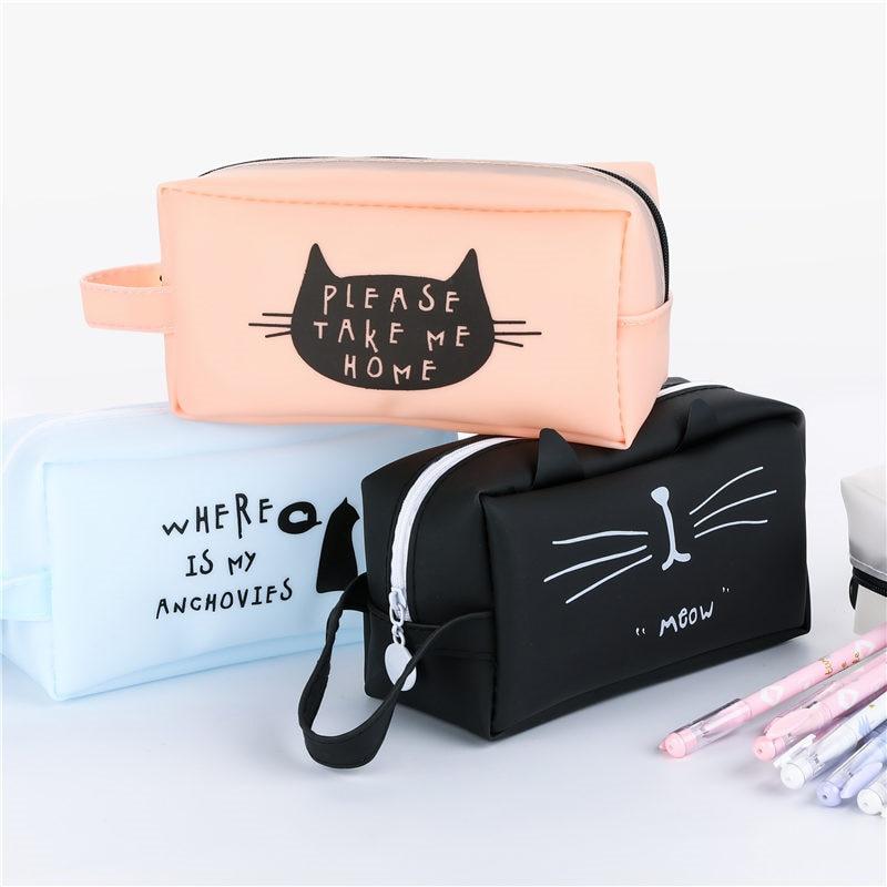Cute Cartoon Pencil Case Large Capacity School Pen Box Cute Creative Cat Cases Bags Office School Stationary Supplies
