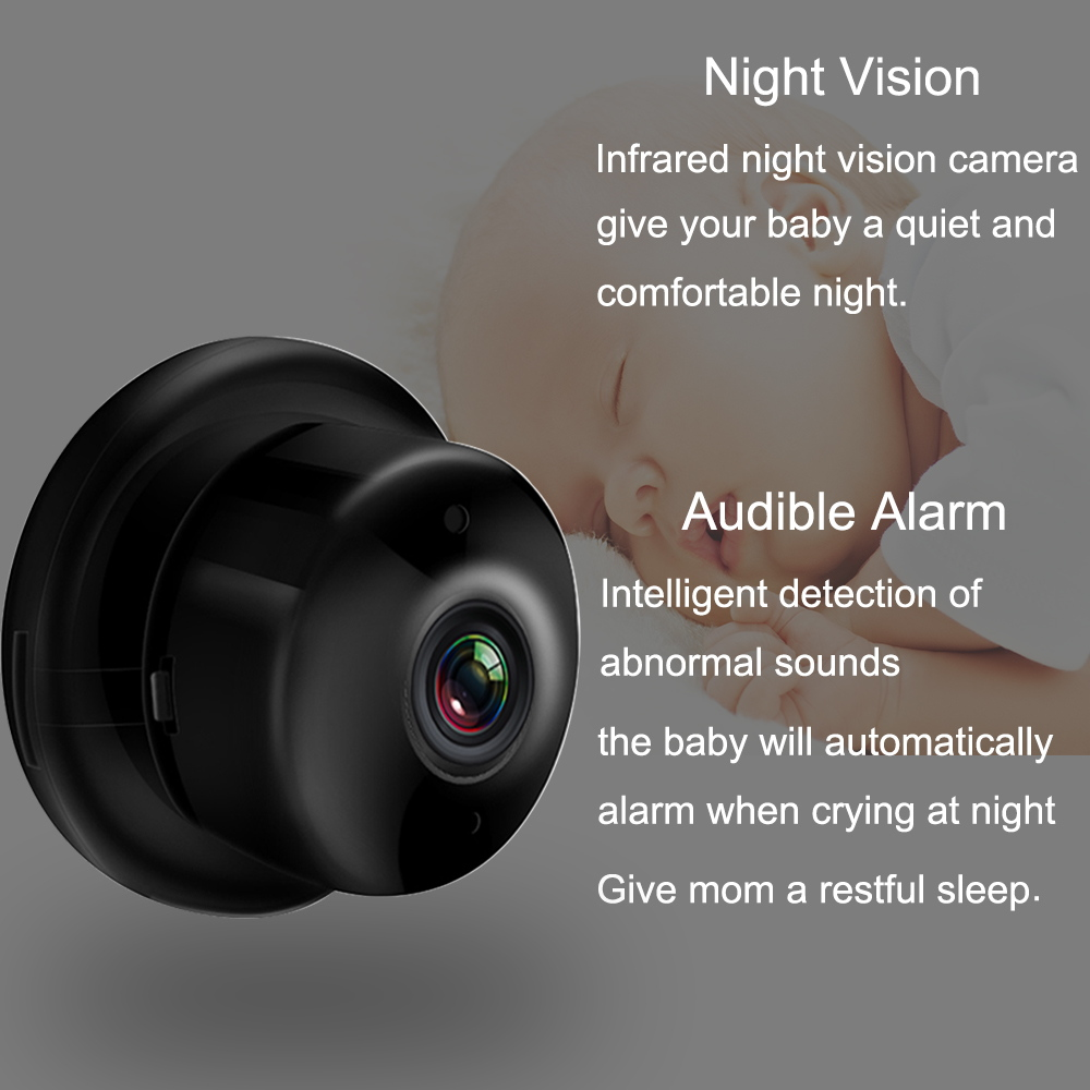 Mini Wireless WIFI IP Camera Smart Home Security Infrared Night Vision Surveillance Camera SD Card Cloud Storage CCTV Monitor
