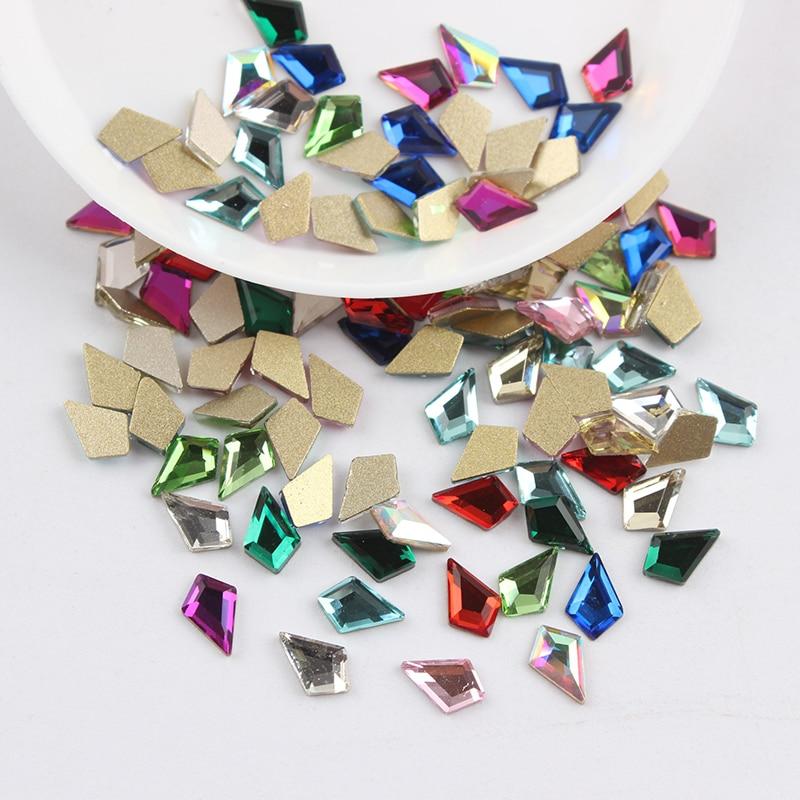 Все смешанные цвета, 30 шт, стразы для дизайна ногтей, сделай сам, без горячей фиксации, стеклянные камни для ногтей, драгоценные камни для 3D украшения для ногтей - Цвет: 4x6.5mm Arrow