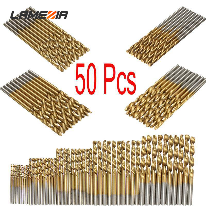 LAMEZIA 50PCS 4Sizes Mini Micro Round Shank DrillBits Set Small Precision HSS Twist Drills For Angle Iron Wood Woodworking