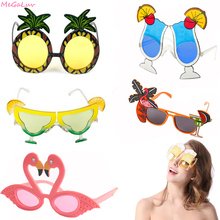 1Pair Beach Hawaii Party Sunglasses Pineapple Flamingo Sunglasses Hawaiian Tropical Glasses Decoration Summer Luau Party Event pineapple party decorations pineapple cups balloons hawaii tropical party summer flamingo party luau wedding decor palm leaf