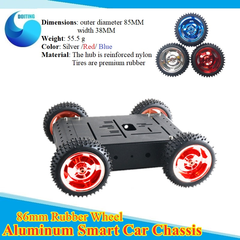 Remote Control Wifi/Bluetooth Control 4WD Smart Car Chassis 85mm RubberTire /Metal Frame/ Big Torque Motor Car Set For DIY Toy