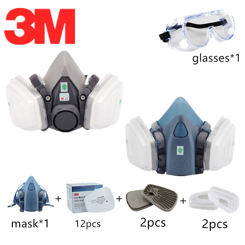 18 In 1 3M Dust Mask Half-face 6200/7502 With Adapter 603 Industrial Panit Spray Filter 5N11 Eye Protection 1621