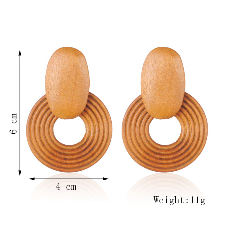 Boho Fashion Round Square Geometric Natural Wood Drop Earrings For Women Bohemian Trendy Simple Wooden Dangle Earring Jewelry