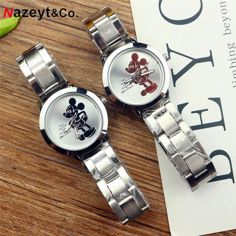 Free Shipping Ladies Watch Cute Cartoon Mouse Dial Middle Boys Girls Quartz Wristwatch Female Strainless Steel Bracelet Watch