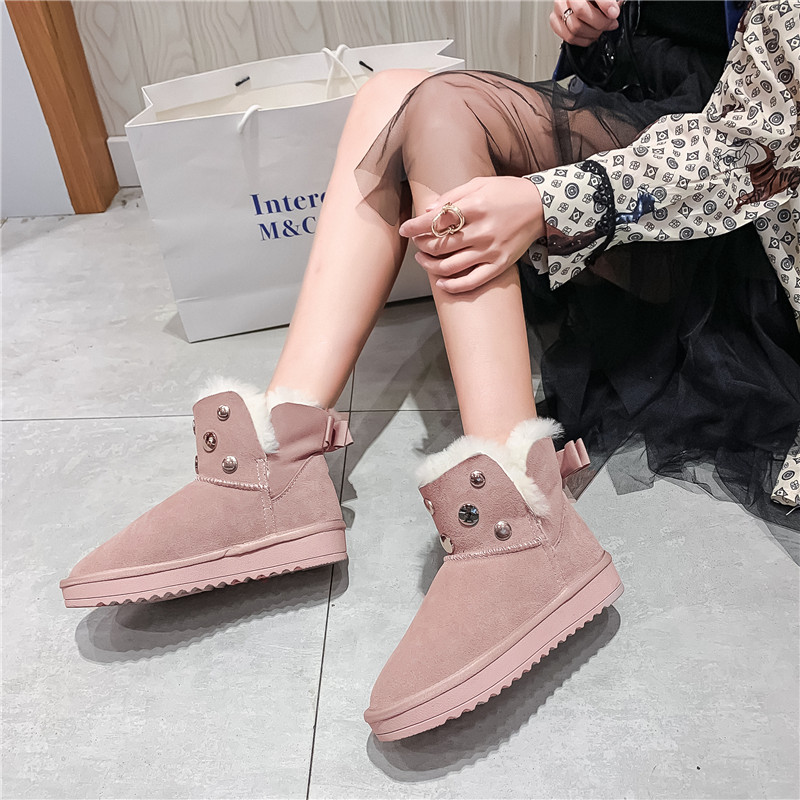 MORAZORA 2020 new hot sale snow boots comfortable flat heel round toe rivets winter shoes keep warm sweet pink ankle boots women 56