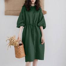 Women's Puff Sleeve Sundress ZANZEA Fashion Casual Summer Shirt Dress Knee Length Vestido Female Button Robe Femme Plus Size 5XL
