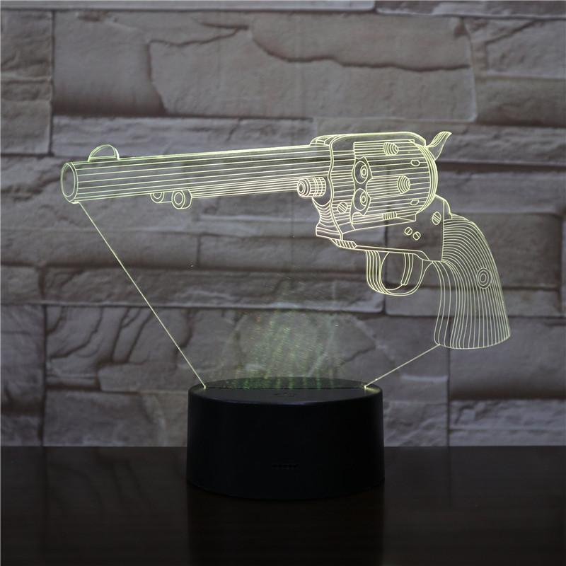 Sniper Rifle Night Light LED 3D Illusion USB Touch Sensor RGB Decorative Lights Child Kids Gift Weapon Gun Table Lamp Desk