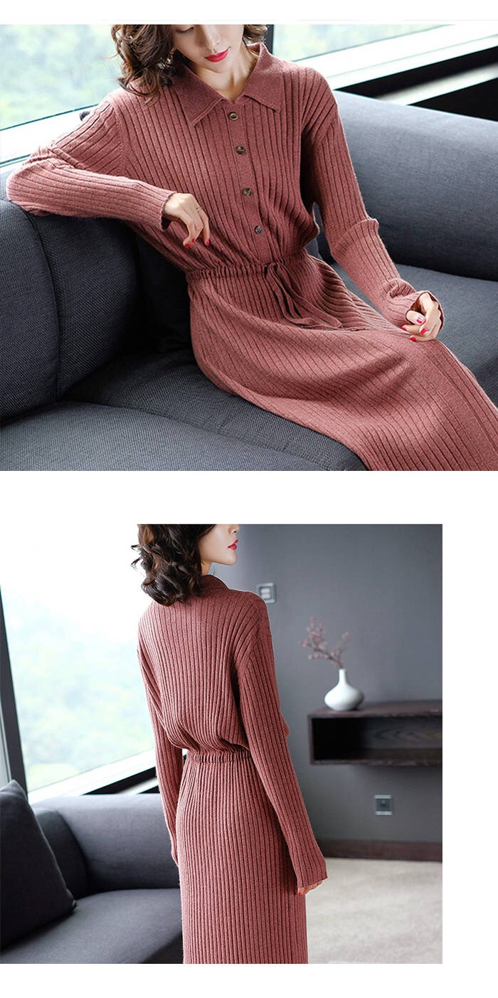 Vangull Women Knitted Dresses Solid Female Long Sleeve Dress 2019 New Autumn Winter Turn-down Collar Button Solid Slim Dresses 68