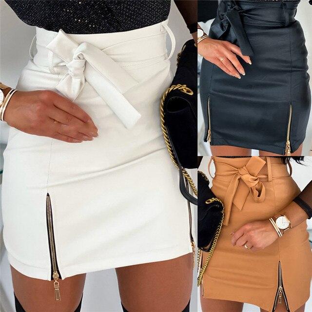 Sexy Women Black PU Leather Pencil Bodycon Skirt Clubwear Double Zipper High Waist Mini Short Skirt Belt Black White Khaki Skirt 2