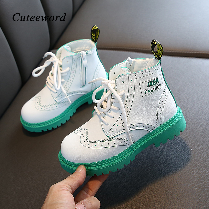 Fashion Boys Martin Boots Children's Shoes Spring And Autumn New Lace Up Zipper Leather Girls Boots Non-slip Kids Ankle Boots