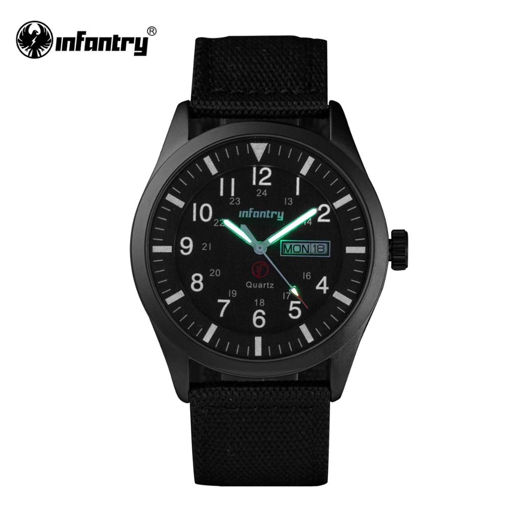 INFANTRY Mens Watches Top Brand 2019 Sport Watch Men Police Luminous Wristwatches Military Black Nylon Waterproof Relojes Hombre