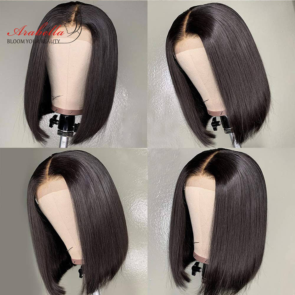 Wig Straight Short Bob Lace Closure Wigs 4x4 Lace Wig 100%  Wigs Preplucked With Baby Hair Arabella  Bob 5
