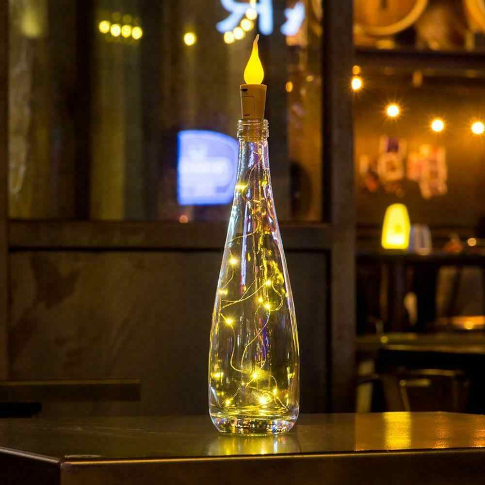 2 M 20LED Pin Ngọn Lửa Blaze Chai Đèn Led Nút Chai Hình Dây Đèn Bistro Rượu Đầy Sao Thanh Đảng Valentines Ban Đêm ánh Sáng
