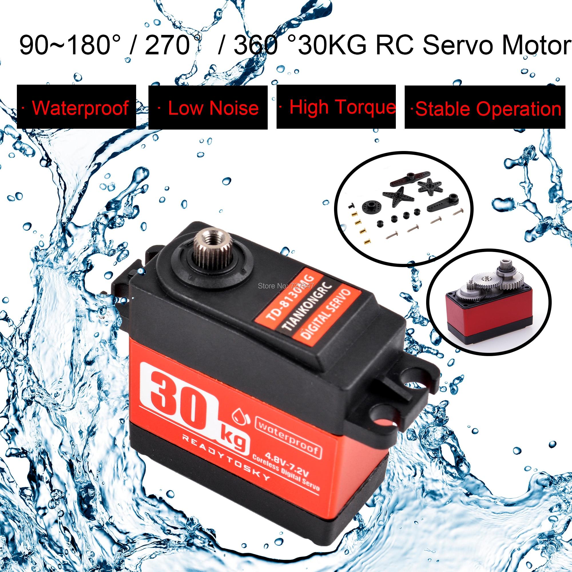 Waterproof 180/270 / 360 Degree 20KG 25KG 30kg 35kg Large Torque Digital Coreless Servo Aluminium Metal Gears 25T Arm For RC Car
