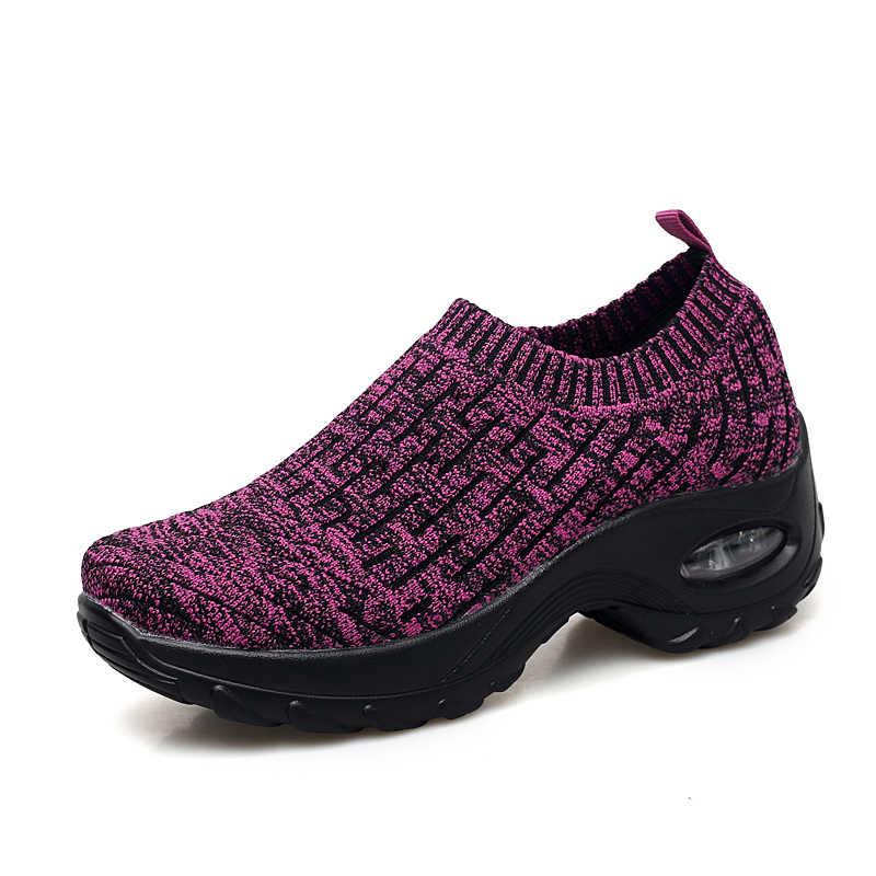 Heißer Verkauf Plattform Turnschuhe Frauen Slip-on Mesh Frau Schuhe Komfortable Atmungsaktive Schuhe Frau Herbst Runde Zehen Mode