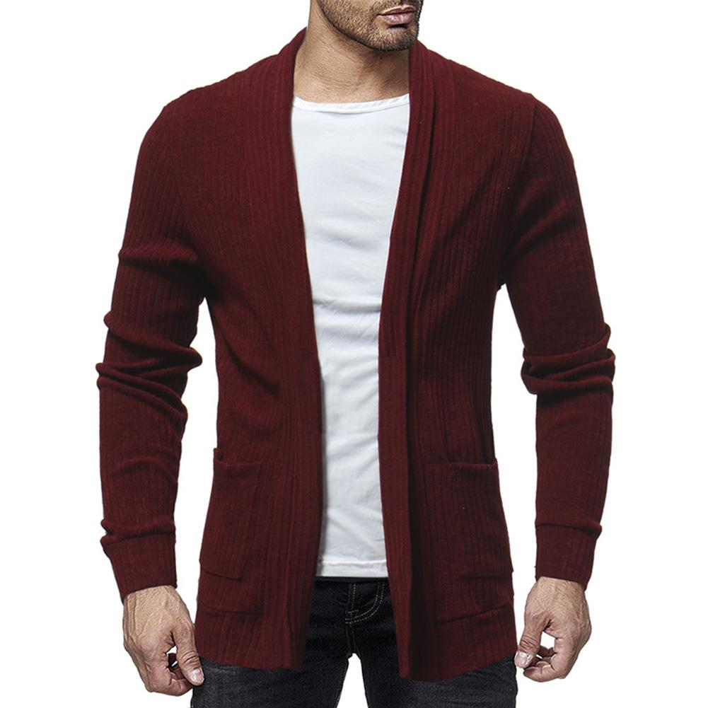 Hot Fall Fashion Men Color Block Long Sleeve Casual Cardigan Coat Outwear Cotton Open Stitch Slim design Show Your Good Figure