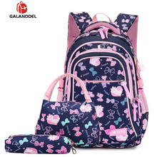 Student Waterproof Bag Girl Print Pink Backpack Large Capacity Three-piece Childrens School Bags Kids Plain Backpacks