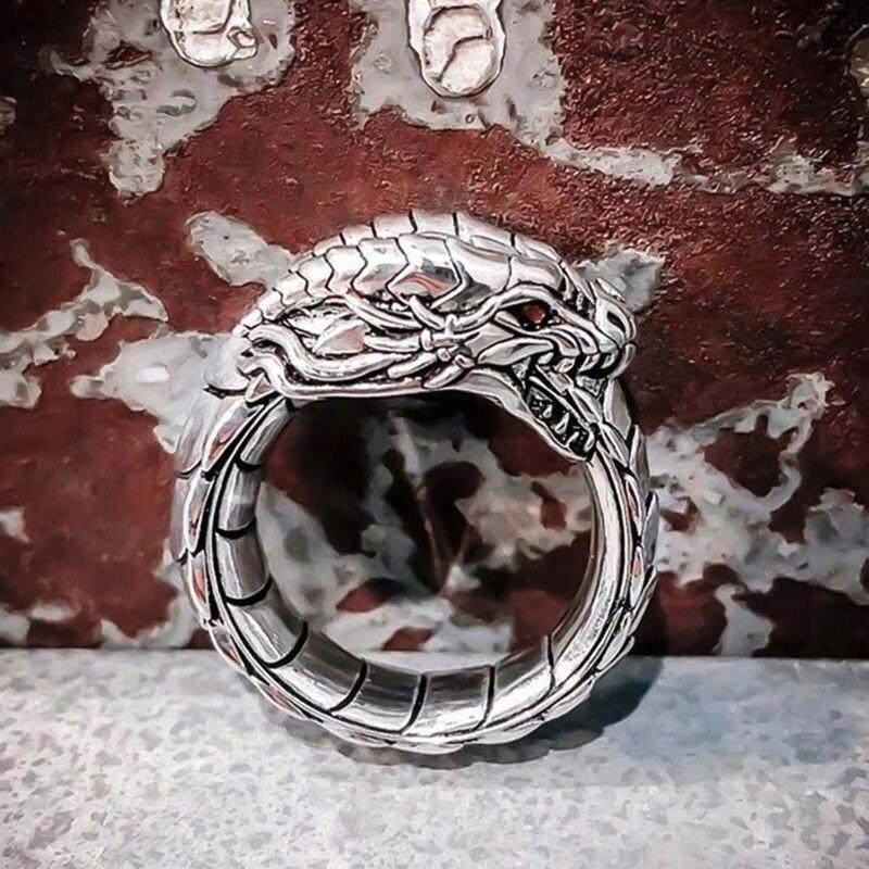 Bague Dragon de feu viking écaille d'argent 3