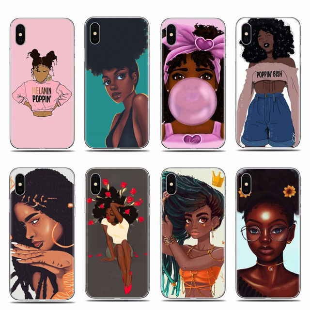 afro black girl <font><b>case</b></font> for <font><b>iphone</b></font> 7 6 6s <font><b>8</b></font> plus Melanin Poppin phone cover <font><b>cases</b></font> for <font><b>iphone</b></font> X XR XS MAX coque soft tpu shell image