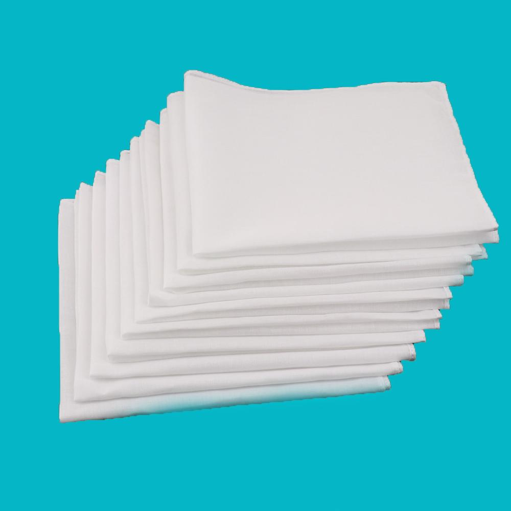 100% Cotton White Square Super Soft Washable Hanky 10pcs Mens White Handkerchiefs Women Blank  28 X 28cm Pocket Square