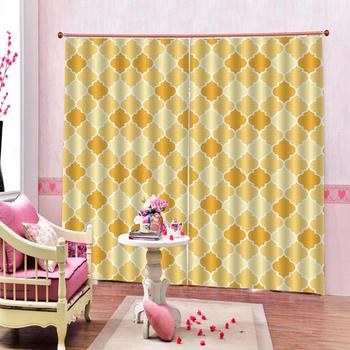 golden curtains Luxury Blackout 3D Window Curtains For Living Room Bedroom Customized size Decoration curtains