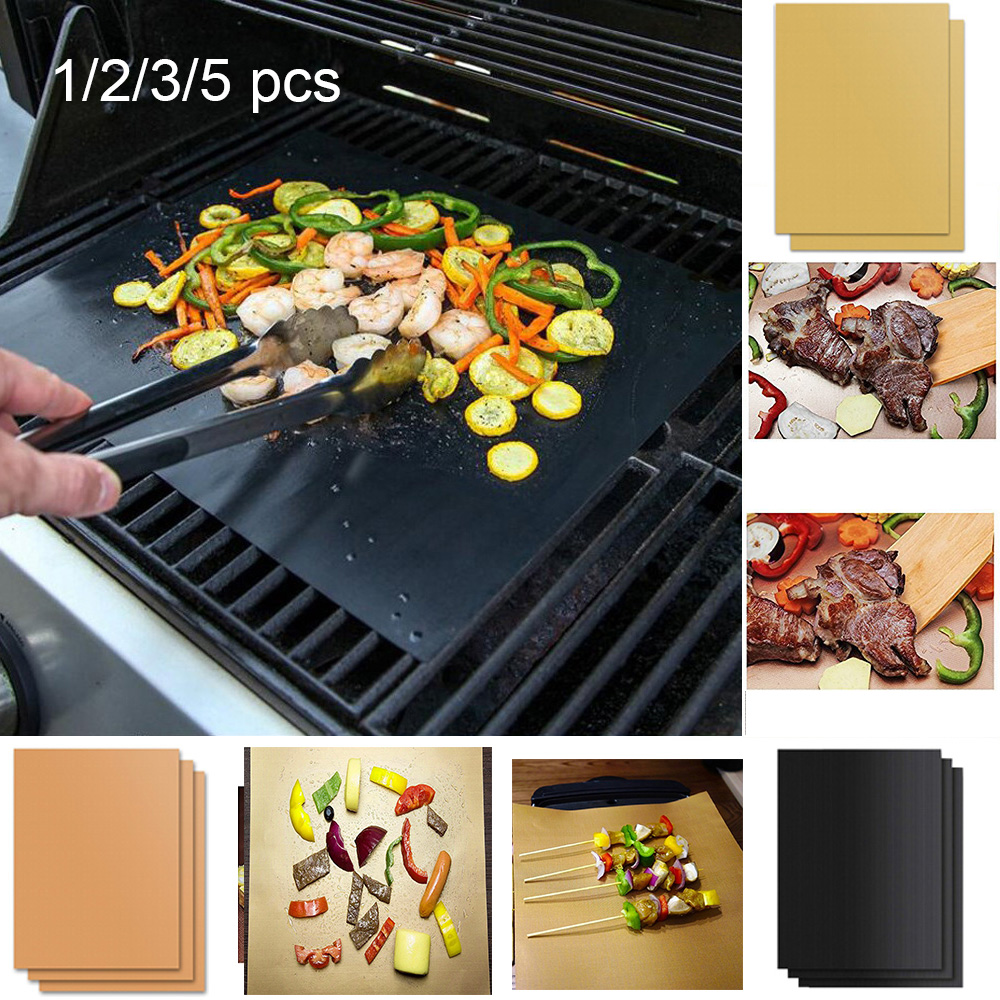 5x BBQ Grill Mat non-stick Oven Liners Cooking Baking Reusable Sheet Pad