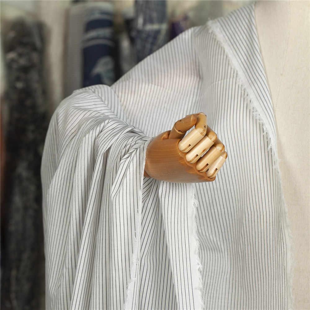 Lane e Filati-tinti silver metallic black & white stripes modello di seta misto tessuto di cotone per la camicia, vestito, gonna, casa, artigianale dal cantiere