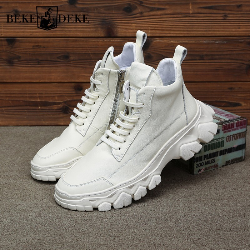 England Style High-Top Shoes Men Brand Genuine Leather Sneakers Male Street Lace Up Casual Platform Shoes Luxury White Trainers