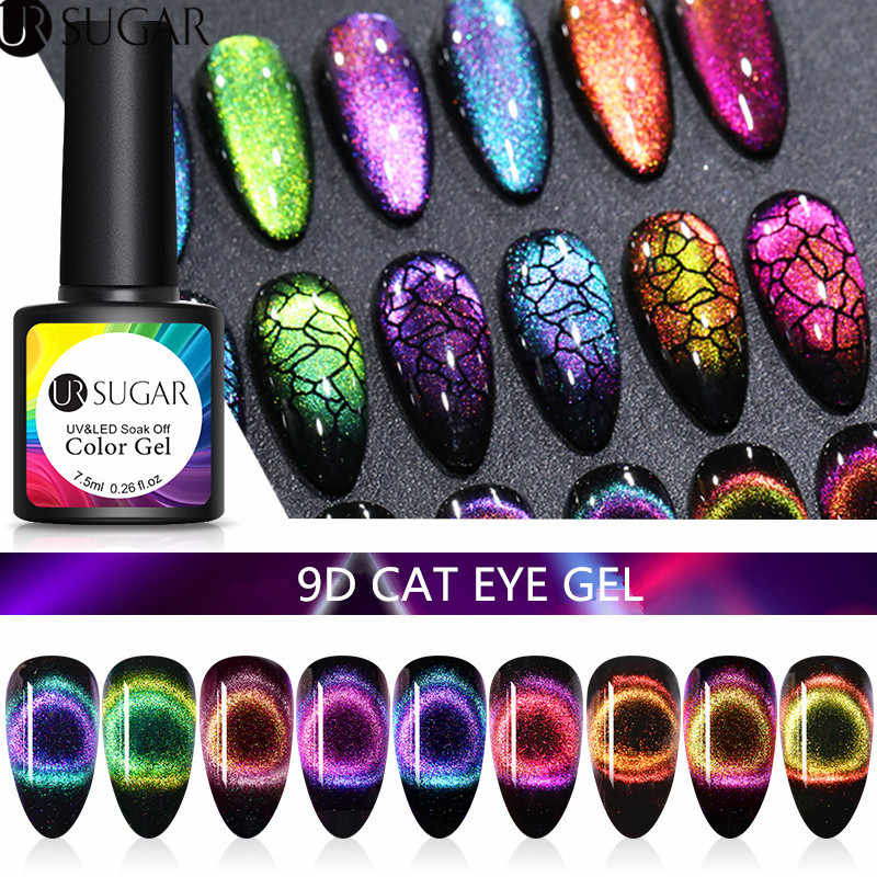 UR Gula 7.5 Ml 9D Galaxy Cat Eye Nail Gel Chameleon Magnetic Rendam Off UV LED Nail Varnish Semi permanen Gel Manicure Lacquer