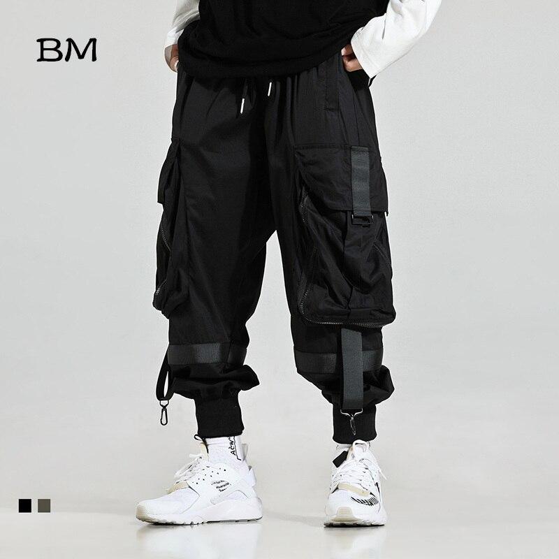 2019 Streetwear Joggers Hip Hop Trousers Men Big Pocket Black Harem Pants Men Techwear Clothing Fashions Korean Style Bts Bangtan Khaki Pants High Quality Kpop Loose Trousers