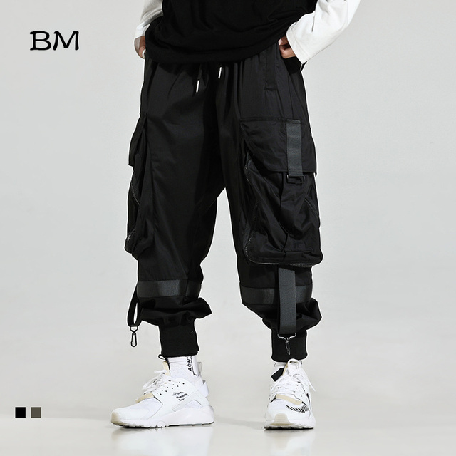 2019 Streetwear Joggers Hip Hop Trousers Men Big Pocket Black Harem Pants Men Techwear Clothing Fashions Korean Style Bts Bangtan Khaki Pants High Quality Kpop Loose Trousers 1