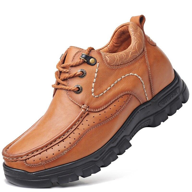 Chaussures décontractées en cuir avec des niveaux élevés en 2019 printemps et automne chaussures en cuir véritable pour hommes