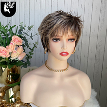 Women Wig Synthetic Short Wave Hair Puffy Bangs Wig Blonde Brown Heat Resistant For White People Daily Use Wigs