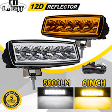 CO Lampu 12D 6 Inch LED Kerja Lampu Bar 5000LM Combo Beam DRL Led LIGHT Bar Offroad untuk SUV Truk ATV Lada Niva Kabut Lampu 12V 24V(China)