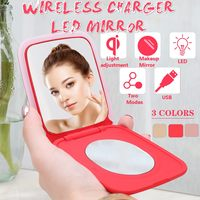 Portable LED Lighted Mini Circular Makeup Mirror Compact Travel Sensing Lighting Cosmetic Mirror Mobile Power