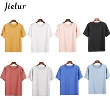 Jielur 10 Colors Summer Women T-shirt Simple Casual O-neck Solid Color Tee Tops Female Korean Harajuku Young Novelty Lady Tshirt