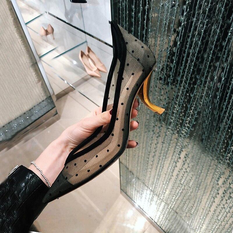 Mesh Pumps Women Strange Heels Shoes Woman Spring 2020 Ladies Shoes Scarpe Donna Pointed Toe Sapato Feminino Zapatos De Mujer