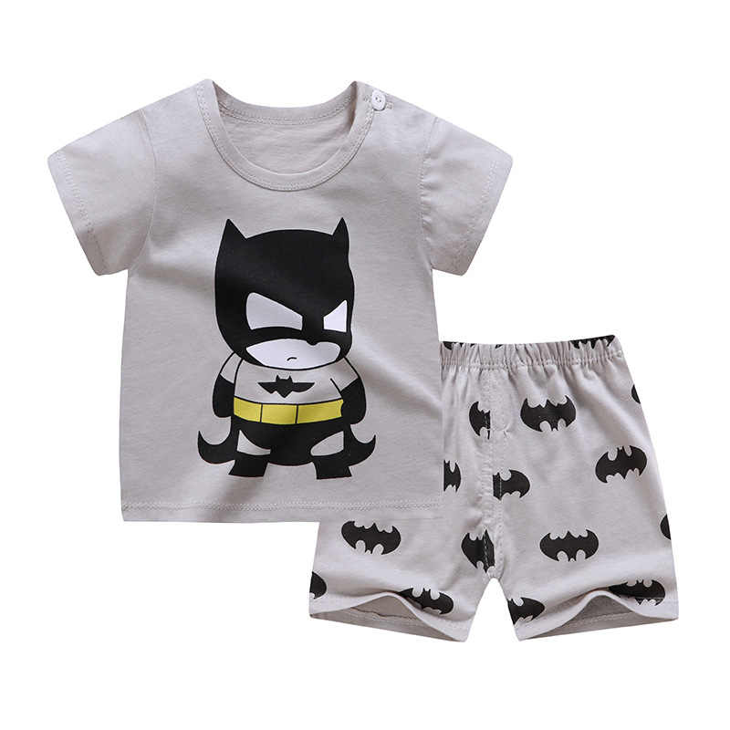 かわいい子供服綿の夏少年少女服セットソフト tシャツショーツスーツの漫画の子供服ベビー服 0-6Y