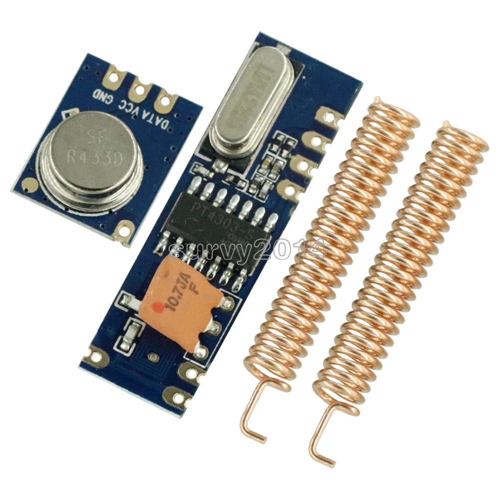 433MHz 100 Meters Wireless Module Kit ASK Transmitter STX882 + ASK Receiver SRX882 + 2Pcs Copper Spring Antenna