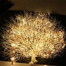 20X2 м 400 светодиодный медный провод, сказочные гирлянды, светодиодный веточный свет для рождественской елки, вечерние гирлянды с адаптером постоянного тока 12 В 2 А