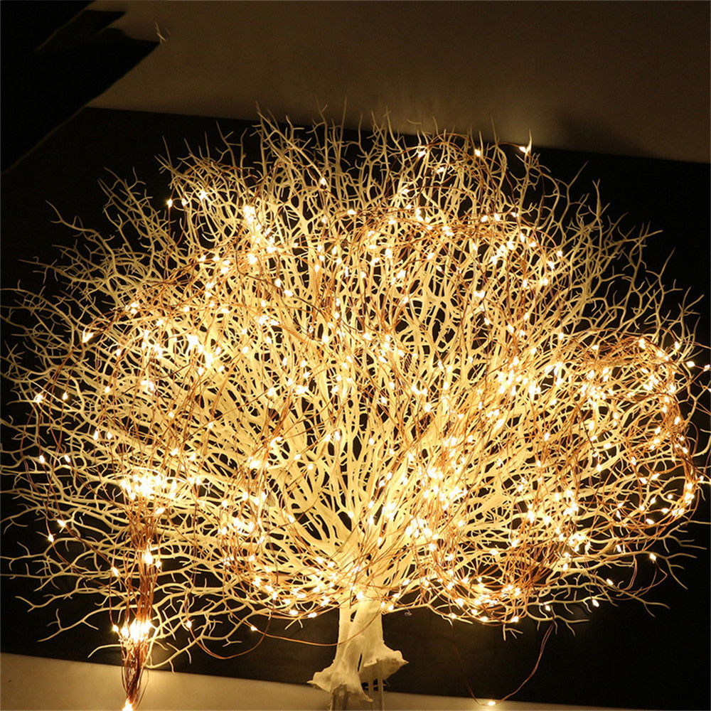10X2M 200 LED Copper wire Fairy String Lights LED Vines Branch lights for Christmas Tree Party Decor with DC 3V 2A Adapter