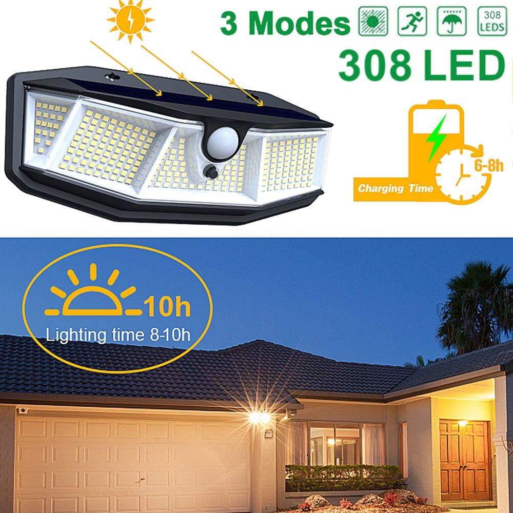 Solar Lichter Außen Beleuchtung IP65 Wasserdichte Solar Lampe Sensor mit 308 LED und 3 Modi, einfach-zu-Installieren Straße Licht für Garten