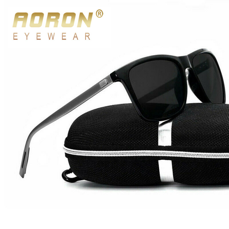 AORON Mens Polarized Sunglasses Men Classic Square Sun Glasses UV400 Mirror Aluminum Leg Eyeglass