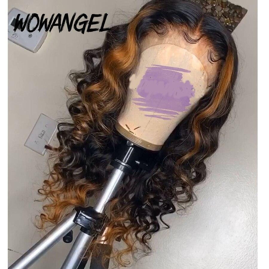 WOWANGEL Ombre Honey Blonde Colored 13x6 Deep Part Lace Front Human Hair Wigs 180% Brazilian Remy Wavy Pre-Plucked Hairline