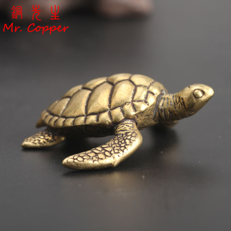 Brass Turtle Small Home Deco Ornaments Pure Solid Copper Antique Animal Miniatures Figurines Crafts Office Desktop Decorations