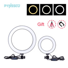 Pynsseu 16cm/26cm led selfie anel de luz com tripé usb selfie luz anel lâmpada fotografia anel luz para youtube live stream