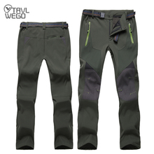 TRVLWEGO Winter Men Hiking Pants Outdoor Soft shell Outing Trousers Waterproof Windproof For Camping Ski Climbing Keep warm 4XL недорго, оригинальная цена